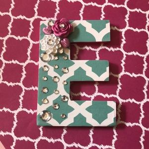 Handcrafted wooden letter E